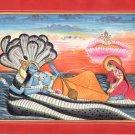 Lakshmi Vishnu Brahma Indian Kangra Pahari Art Handmade Hindu Miniature Painting