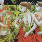 Krishna Radha Gopis Hindu Oil Canvas Art Indian Deity Handmade Ethnic Painting