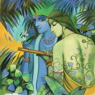 Krishna Radha Hindu Modern Art Handmade Oil on Canvas Wall Decor Indian Painting