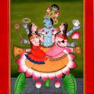 Lakshmi Saraswati Vishnu Kangra Pahari Art Handmade Hindu Miniature Painting