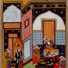 Persian Miniature Manuscript Painting Rare Illuminated Islamic Folk Handmade Art