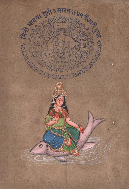 Yamuna Devi Art Handmade Spiritual Hindu Indian Goddess Decor Ethnic Painting