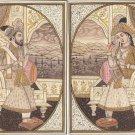 Emperor Shah Jahan Empress Mumtaz Mahal Rare Mughal Miniature Art Royal Painting
