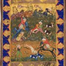 Handmade Indo Persian Miniature Painting Islamic Tazhib Ethnic Royal Hunt Art