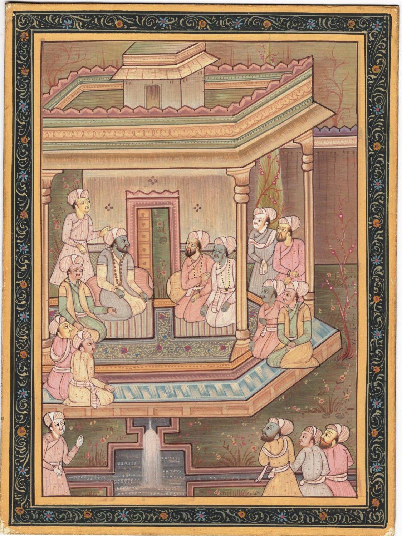 Handmade Indo Persian Miniature Painting Islamic Tazhib Ethnic Royal Court Art