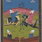 Persian Polo Miniature Painting Handmade Ottoman Turkish Style Islamic Folk Art