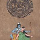 Rama Sita Hindu Religious Art Old Stamp Paper Indian Ethnic Ramayana Painting