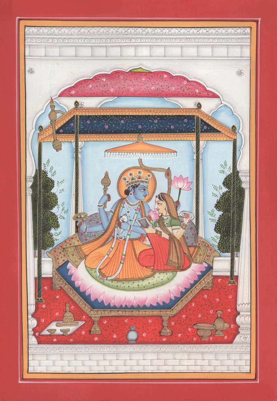 Vishnu Lakshmi Lotus Kangra Miniature Painting Handmade Indian Hindu Deity Art