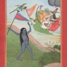 Indian Miniature Kangra Painting Handmade Krishna Garuda Hindu Ethnic Deity Art