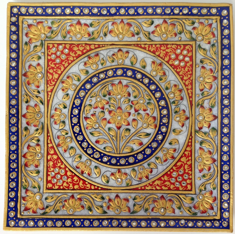 Indian Marble Plate Decor Painting Handmade Floral Motif Jaipur Rajasthani Art