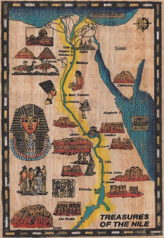 Egyptian Papyrus Treasure Nile Art Handmade Egypt History Decor Ethnic Painting