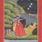 Kangra Pahari School Art Handmade Indian Miniature Krishna Radha Ethnic Painting
