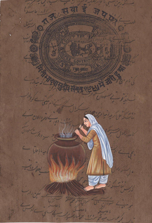 Mata Khivi Langar Sikh Handmade Miniature Painting Sikhism Punjab Ethnic Art