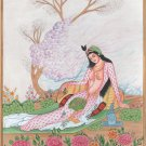 Persian Miniature Princess Portrait Art Handmade Iran Asian Ethnic Painting