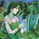 Hindu Painting Radha Krishna Hand Painted Indian Spiritual Oil Canvas Wall Art