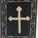 Indian Velvet Embroidery Art Handmade Christian Holy Cross Ethnic Handicraft