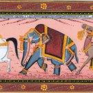 Indian Elephant Horse Camel Nature Art Handmade Animal Miniature Silk Painting