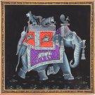 Indian Elephant Painting Handmade Rajasthan Animal Bird Miniature Decor Folk Art
