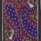 Madhubani Peacock Bird Art Handmade Indian Tribal Folk Mithila Decor Painting