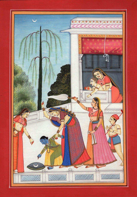 Kangra Pahari Bala Krishna Yashoda Art Handmade Indian Miniature Ethnic Painting