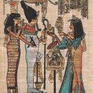 Egyptian Papyrus Isis Osiris Painting Handmade Egypt Miniature Historical Art