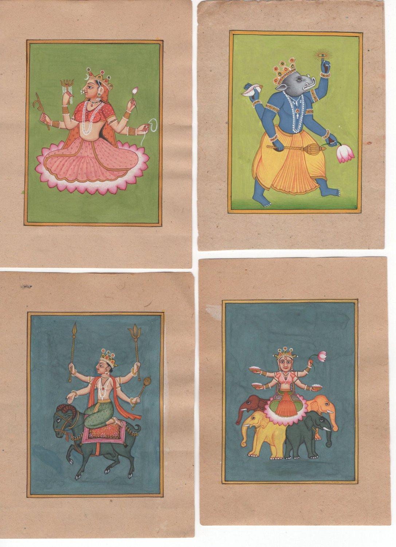 Indian Hindu Deity Painting Handmade God Goddess Collectible Miniature Holy Art