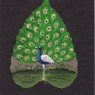 Peepal Leaf Art Handmade Indian Miniature Peacock Drawing Decor Painting