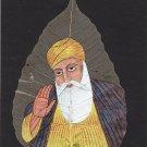 Peepal Leaf Sikh Art Handmade Indian Miniature Guru Nanak Drawing Decor Painting