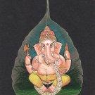 Peepal Leaf Ganesha Painting Handmade Indian Miniature Hindu Ganesh Drawing Art