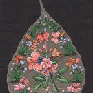 Peepal Leaf Painting Handmade Indian Miniature Butterfly Floral Nature Decor Art