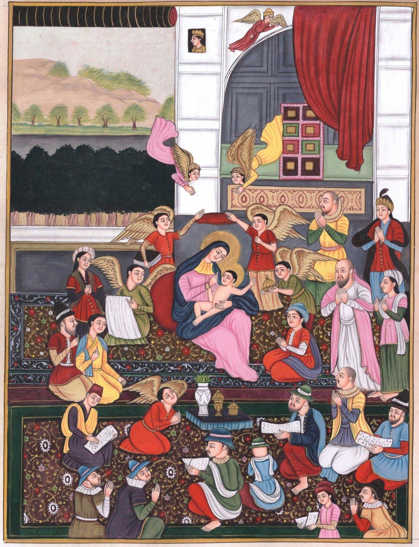 Mughal Nativity Painting Handmade Indian Miniature Mary Jesus Christ Mogul Art