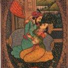 Mogul Indian Miniature Painting Handmade Watercolor Mughal Empire Harem Folk Art