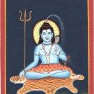Mahadev Shiva Art Handmade India Hindu Deity Spiritual Silk Watercolor Painting