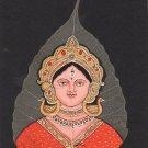 Peepal Leaf Goddess Durga Art Handmade Indian Miniature Hindu Drawing Painting