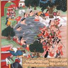 Mughal Akbarnama Miniature Painting Handmade Indian Mogul Empire History Art