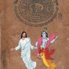 Jesus Christ Lord Krishna Painting Handmade Christian Hindu Ethnic Spiritual Art