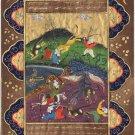 Persian Indo Miniature Art Islamic Illuminated Manuscript Dragon Hunt Painting