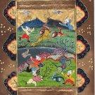 Persian Illuminated Manuscript Miniature Art Rare Indo Islamic Hunt Painting