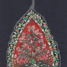 Peepal Leaf Mughal Floral Painting Handmade Indian Miniature Decor Nature Art