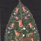 Peepal Leaf Hoopoe Painting Handmade Indian Miniature Bird Floral Nature Art