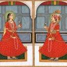 Mughal Empire Miniature Art Handmade Mogul Prince Princess Portrait Painting