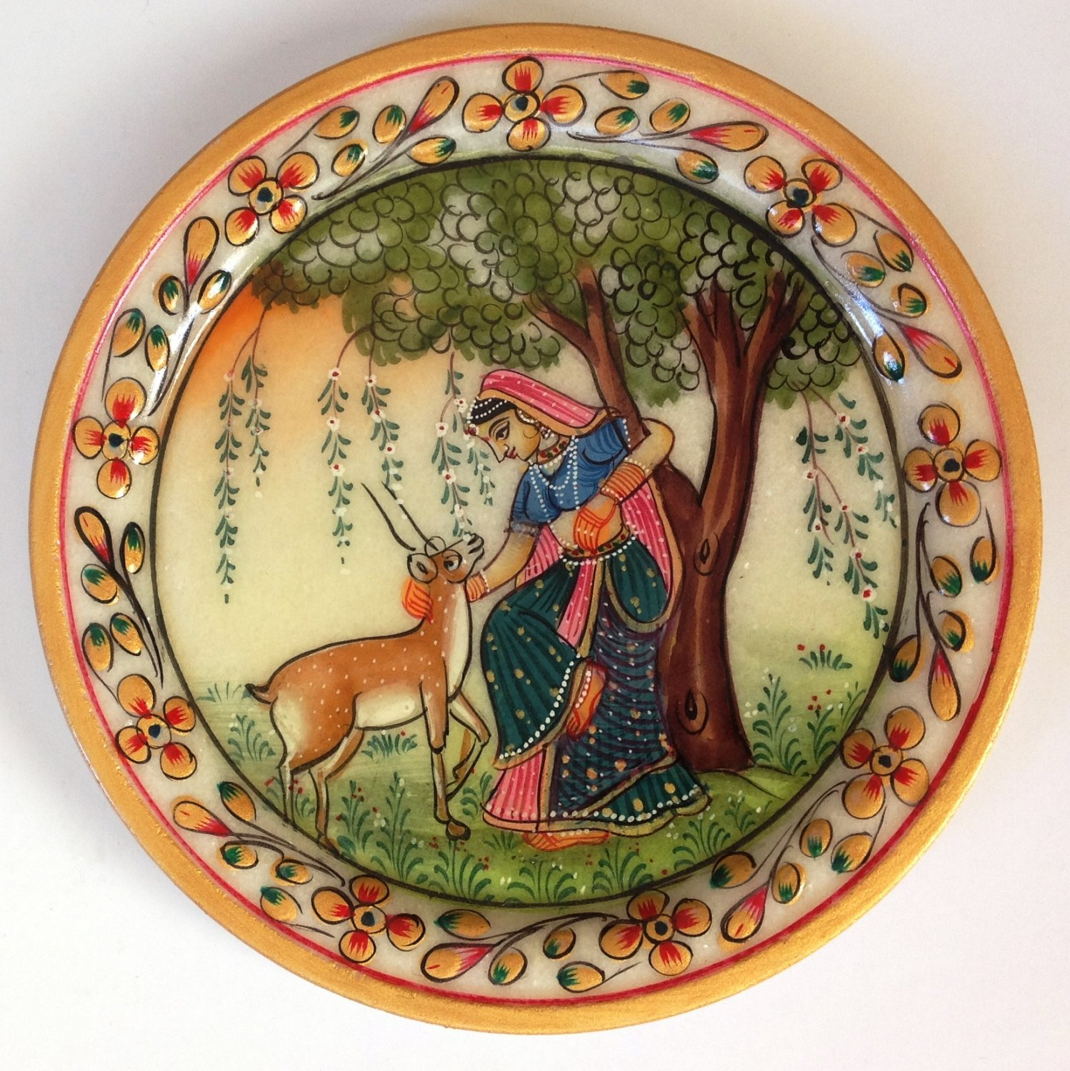Indian Marble Plate Art Handmade Floral Todi Ragini Home Decor Stone Painting