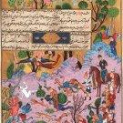 Persian Indian Miniature Painting Handmade Ferdowsi Shahnama Miniature Folk Art