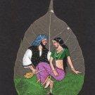 Indian Rajasthani Miniature Peepal Leaf Art Handmade Maharajah Maharani Painting