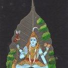 Indian Miniature Peepal Leaf Shiva Art Handmade Hindu God Deity Drawing Painting