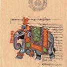 Indian Elephant Miniature Art Handmade Vintage Stamp Paper Ethnic Decor Painting