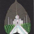 Indian Rajasthani Taj Mahal Miniature Peepal Leaf Art Handmade Mughal Painting