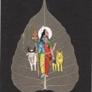 Indian Miniature Peepal Leaf Ardhanarishvara Art Handmade Shiva Parvati Painting