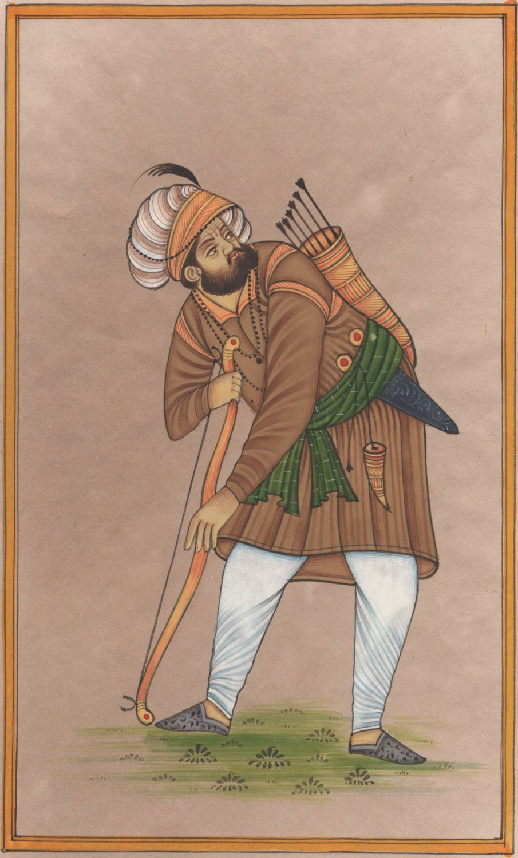 Rajasthani Miniature Portrait Painting Handmade Indian Bow Arrow Hunter Folk Art
