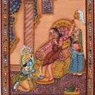 Krishna Sudama Ethnic Art Handmade Indian Hindu Folk Religion Miniature Painting